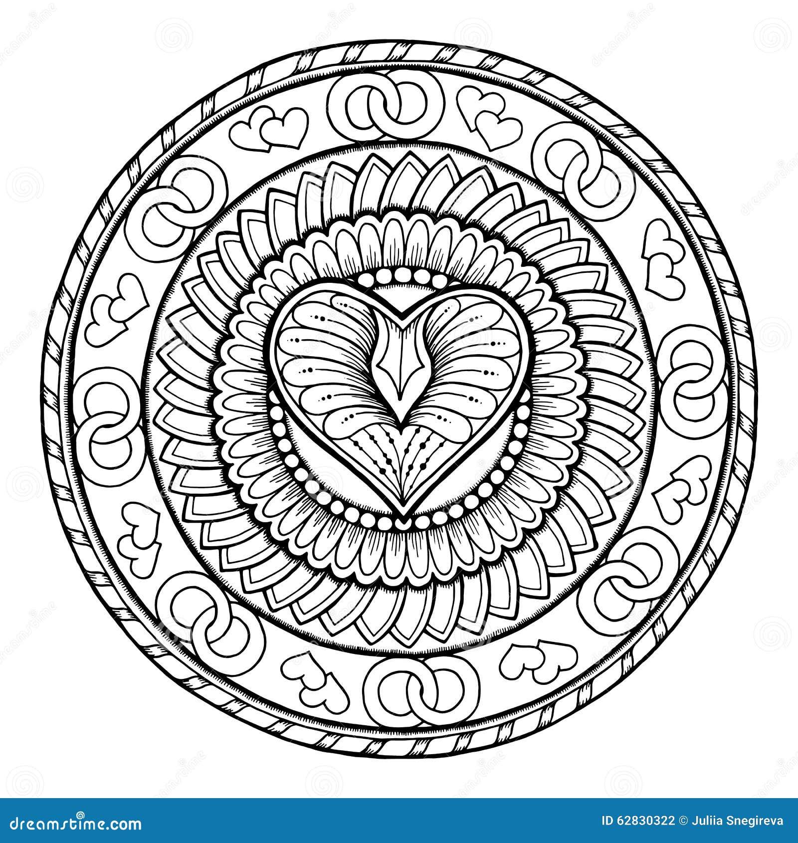 Ornement tribal de griffonnage de cercle avec le coeur d - Mandala amour ...