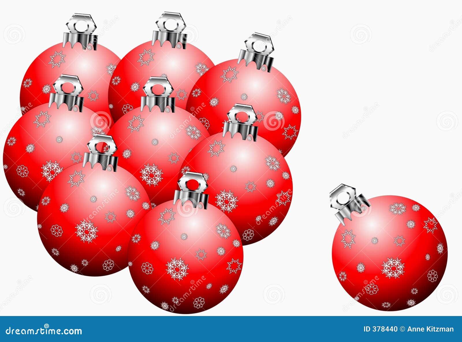 Ornements rouges de Noël de flocon de neige