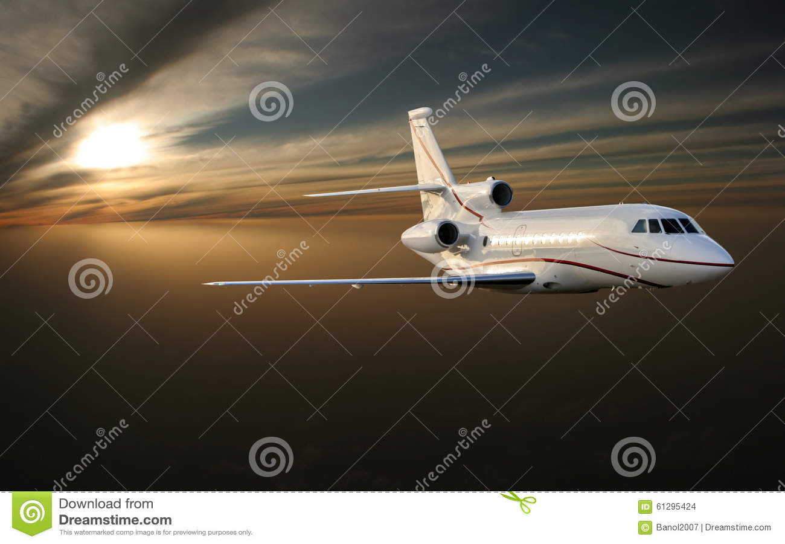 Ðœorning flight. Luxury jet plane above Earth.