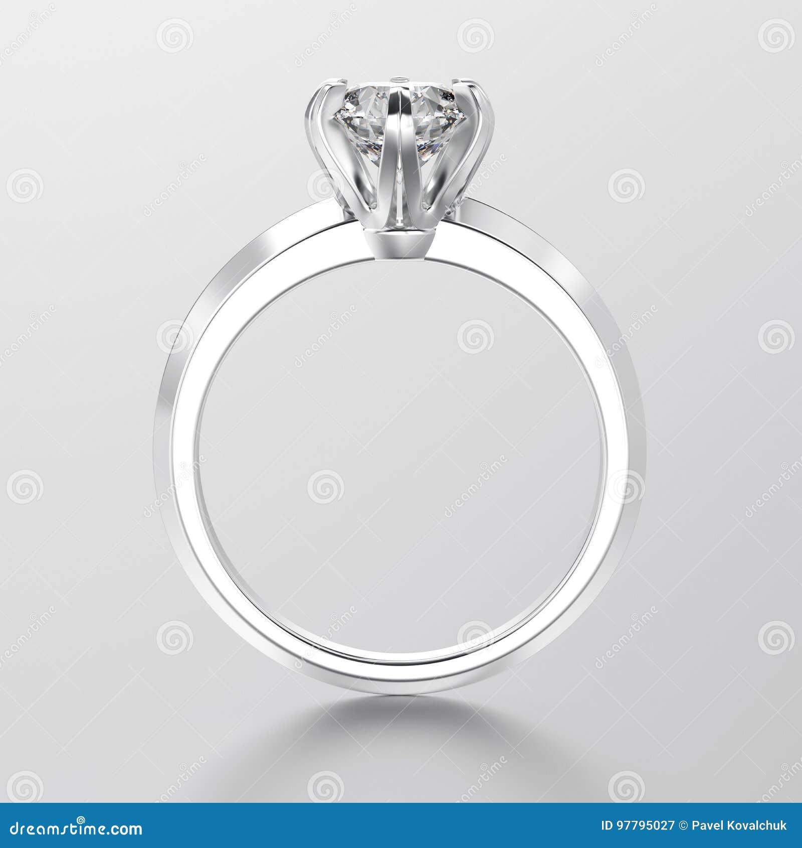 Oro bianco dell illustrazione 3D o engag tradizionale d argento del solitario