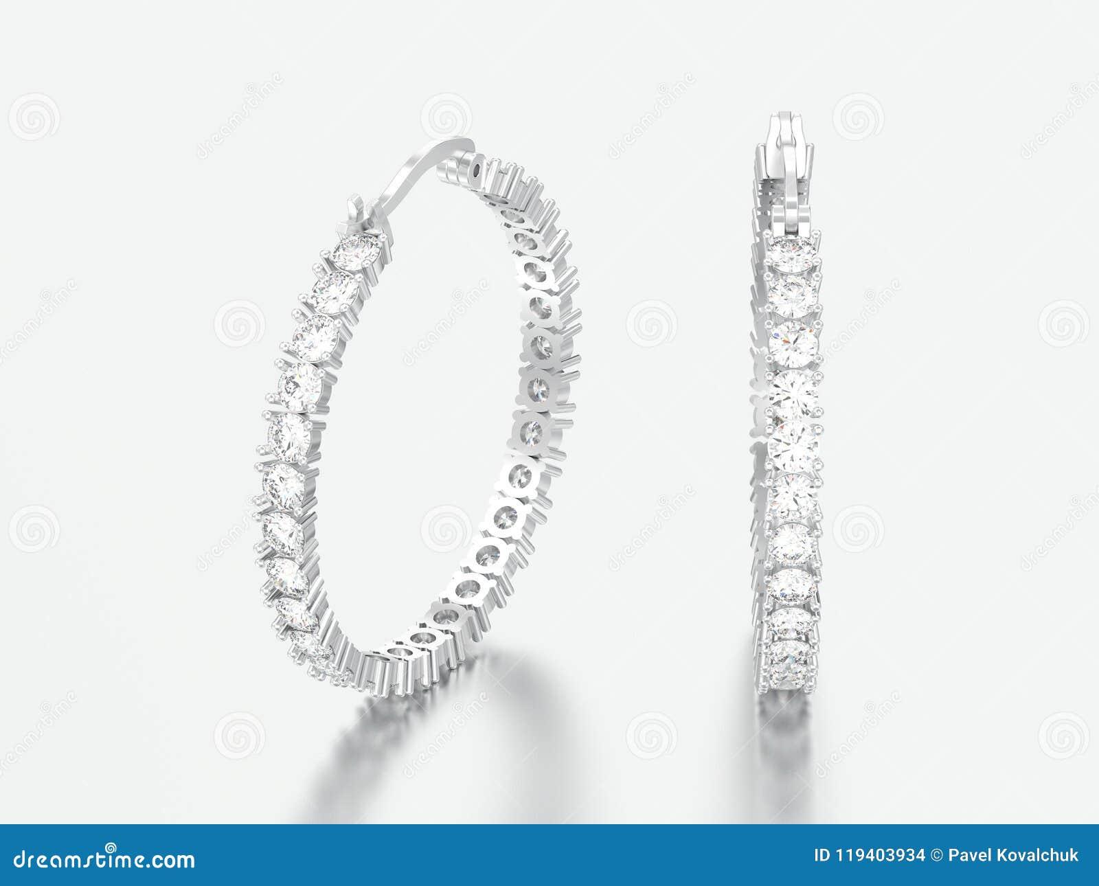 Oro bianco dell illustrazione 3D o orecchini decorativi d argento del diamante