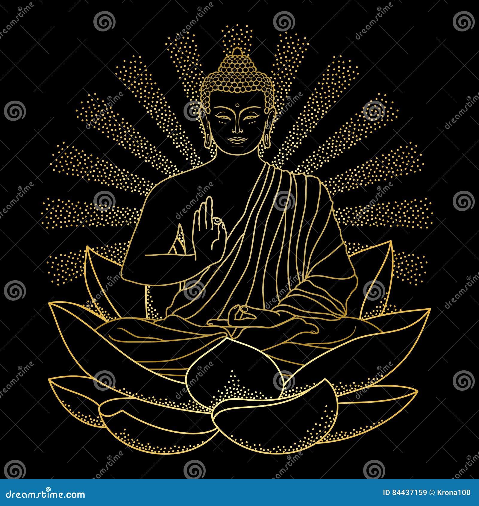 Oro Buda que se sienta en Lotus con el haz de luz