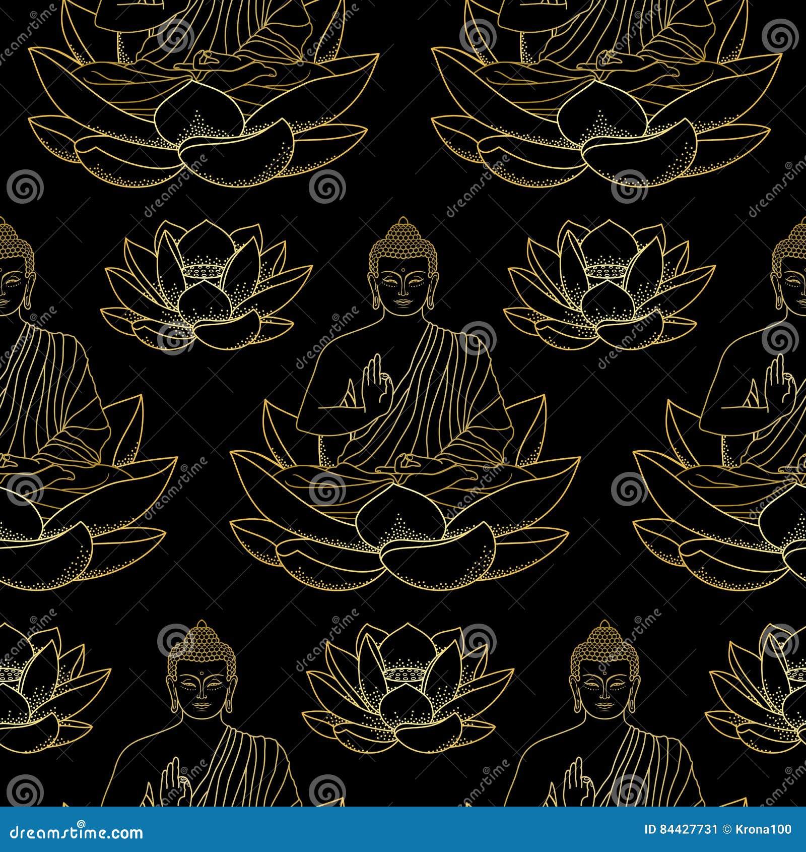Oro Buda que se sienta en Lotus Seamless Pattern