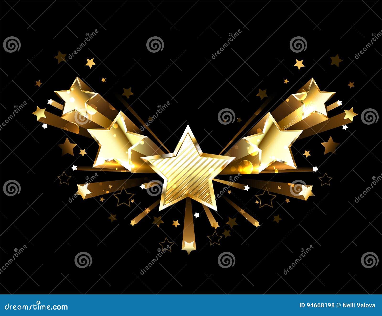 Oro chispeante cinco estrellas