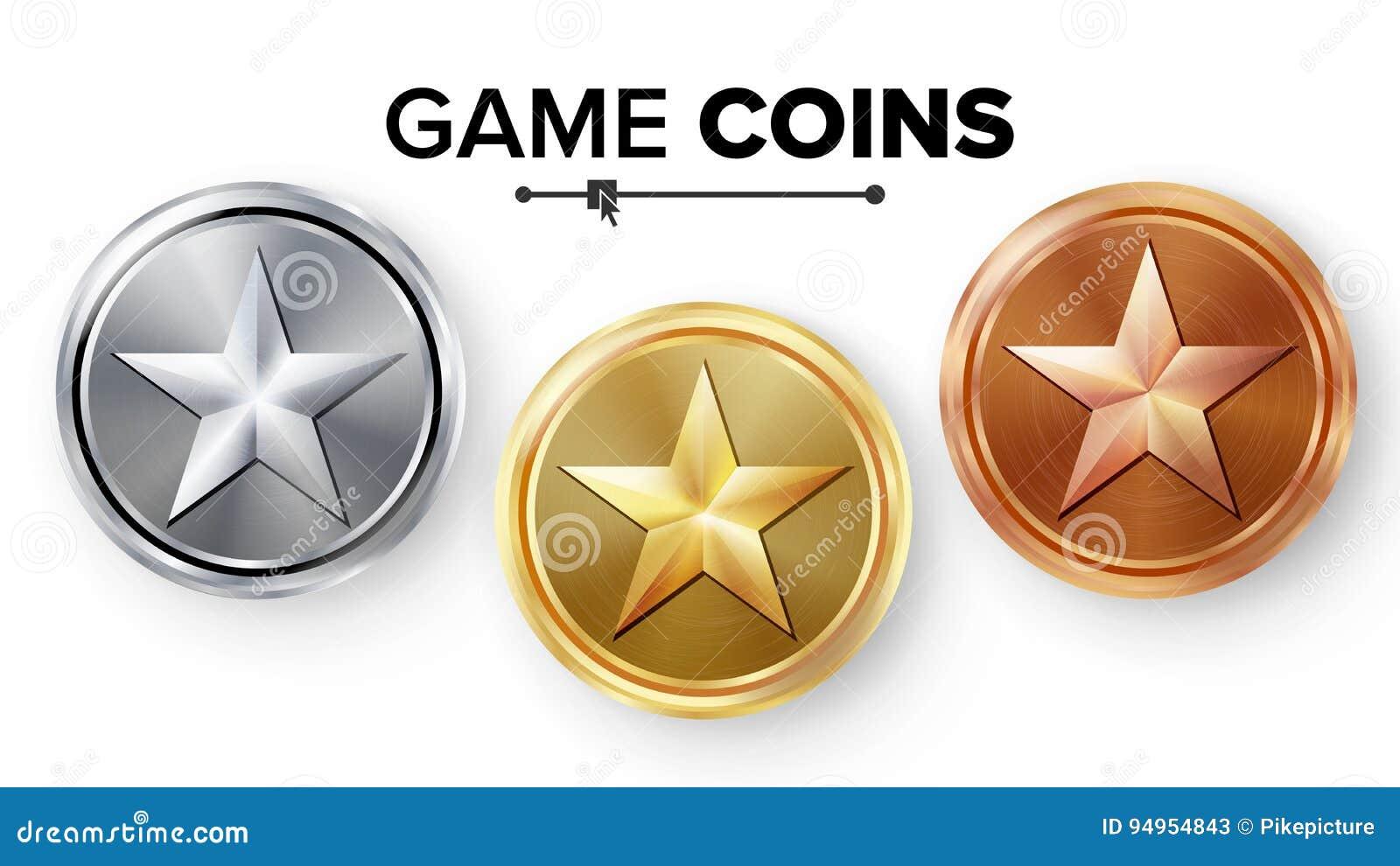 Oro del juego, plata, vector fijado monedas de bronce con la estrella Ejemplo realista del icono del logro Medallas espesas para