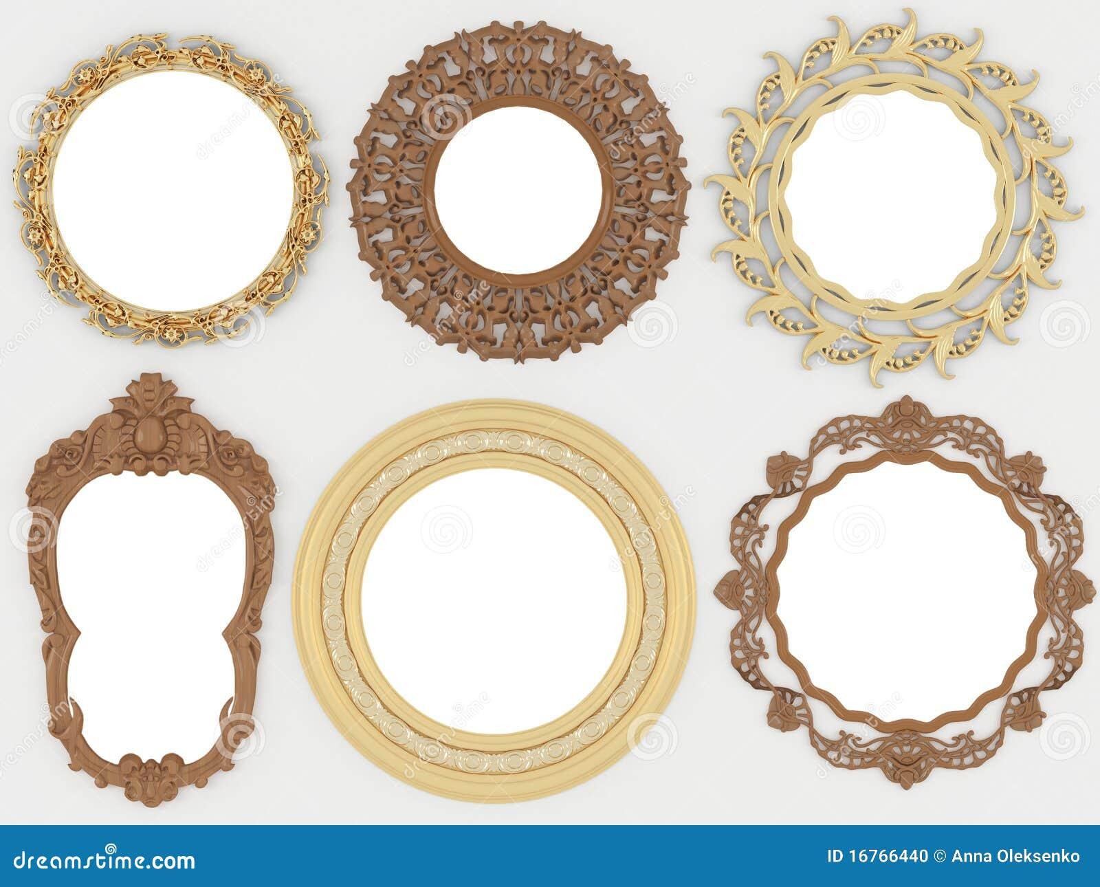 oro dell 39 annata e cornici rotonde vuote di legno