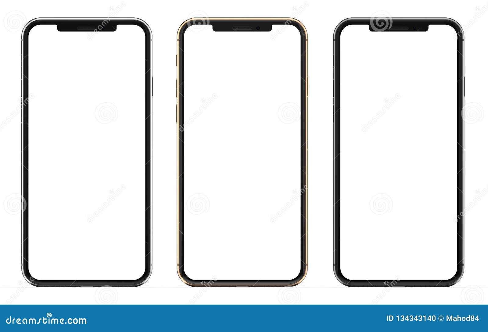 Oro, plata y smartphones negros con la pantalla en blanco, aislada en el fondo blanco