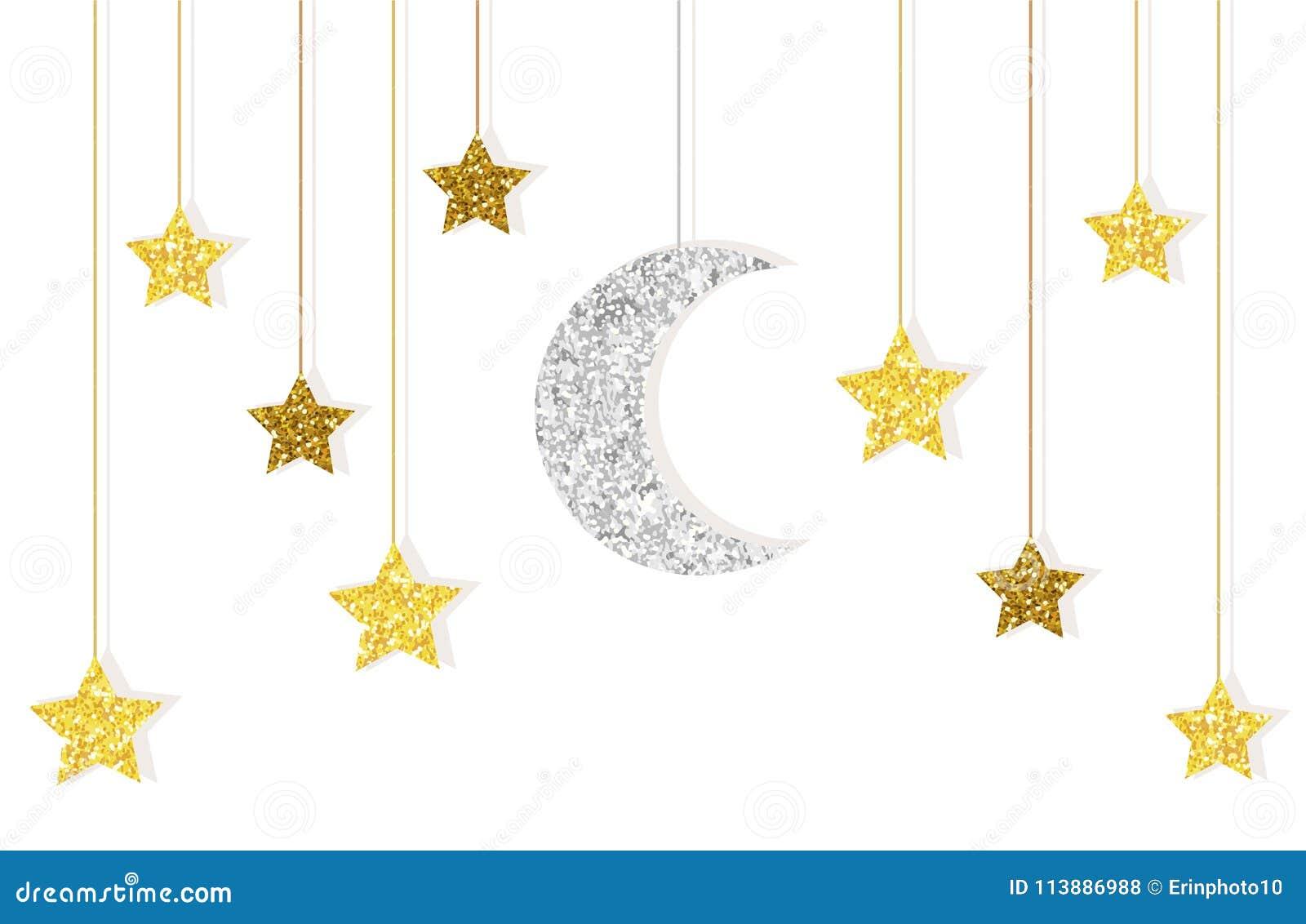 Oro sveglio di scintillio e luna e stelle dell argento che appendono sulle corde