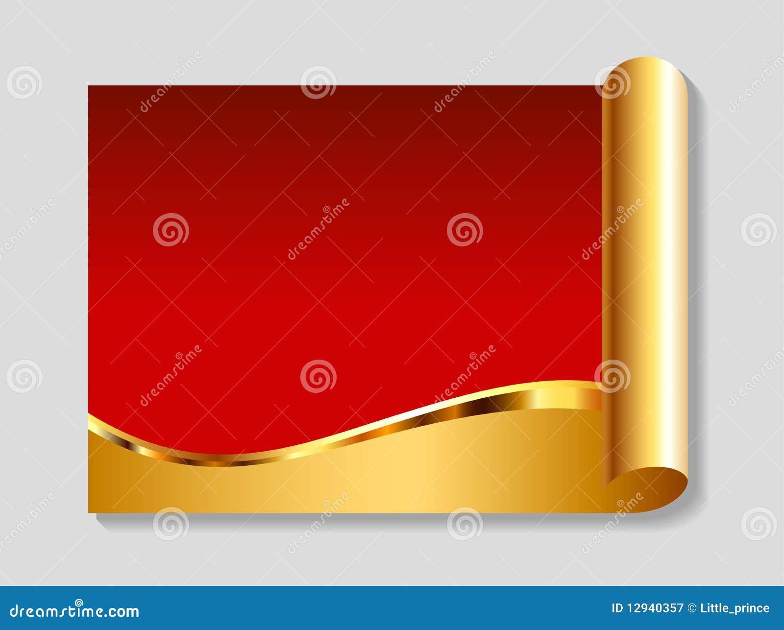 Oro y fondo abstracto rojo