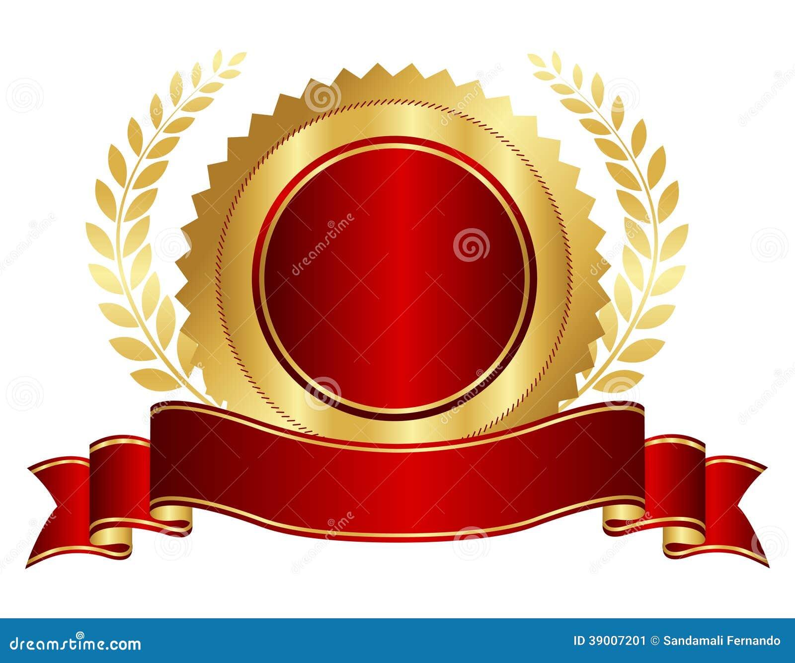 Oro y sello rojo con la cinta