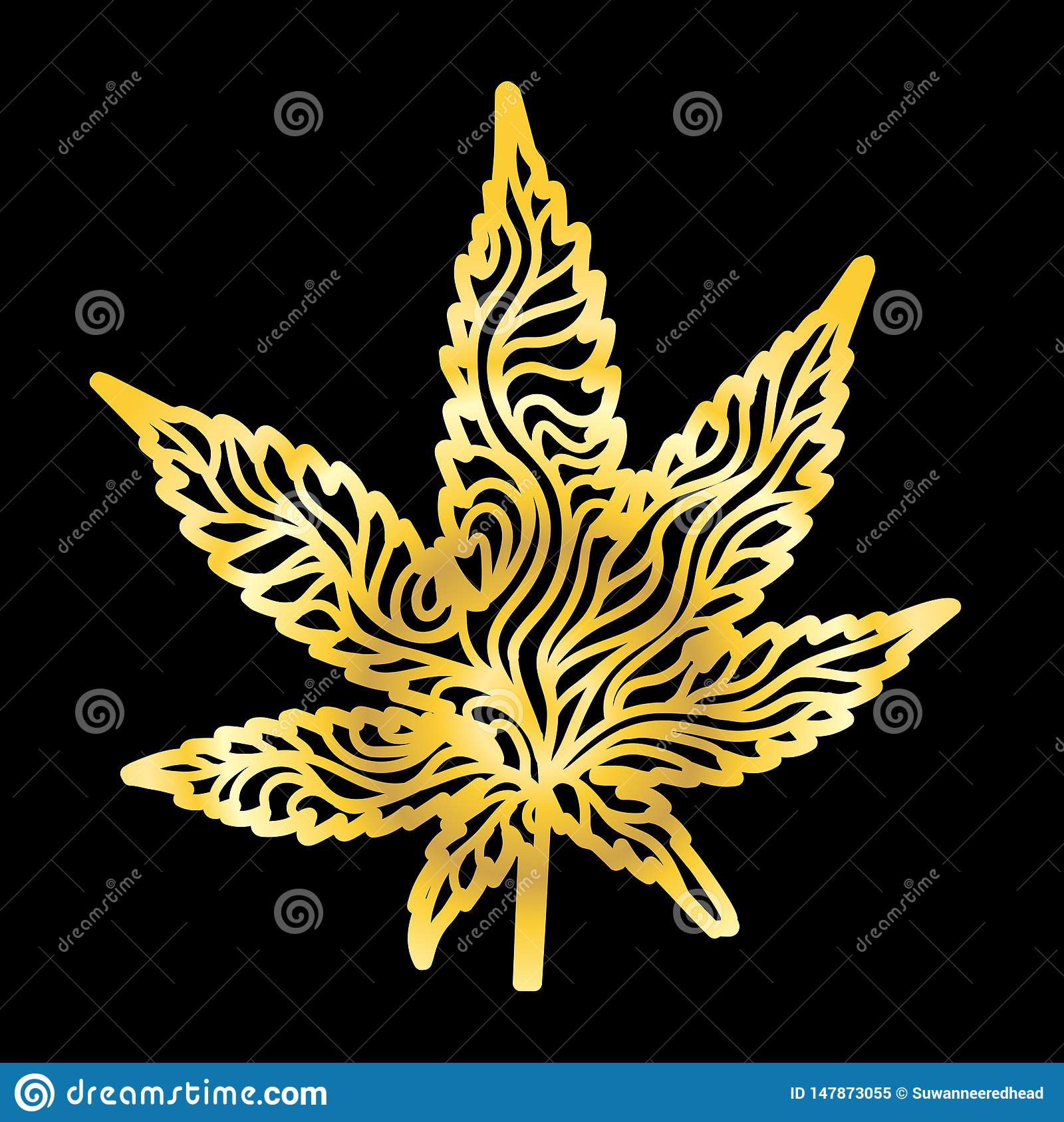 Oro Zen Cannabis Leaf Hand-Drawn