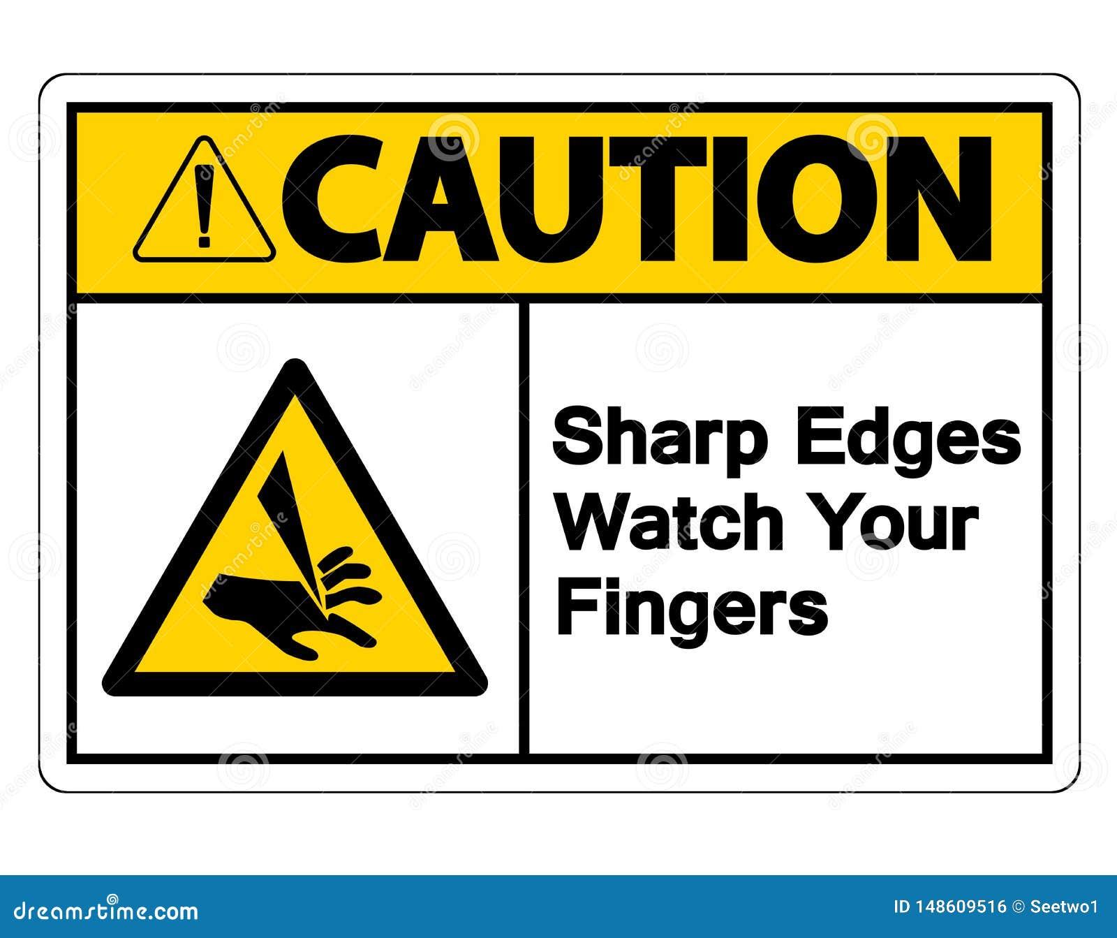 Orologio degli spigoli di cautela il vostro segno di simbolo delle dita su fondo bianco