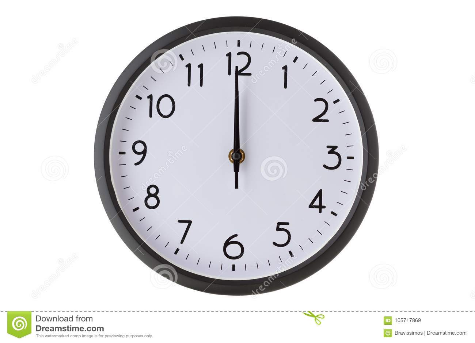 Orologio di parete rotondo dell ufficio su bianco, sulla mezzanotte o sul mezzogiorno