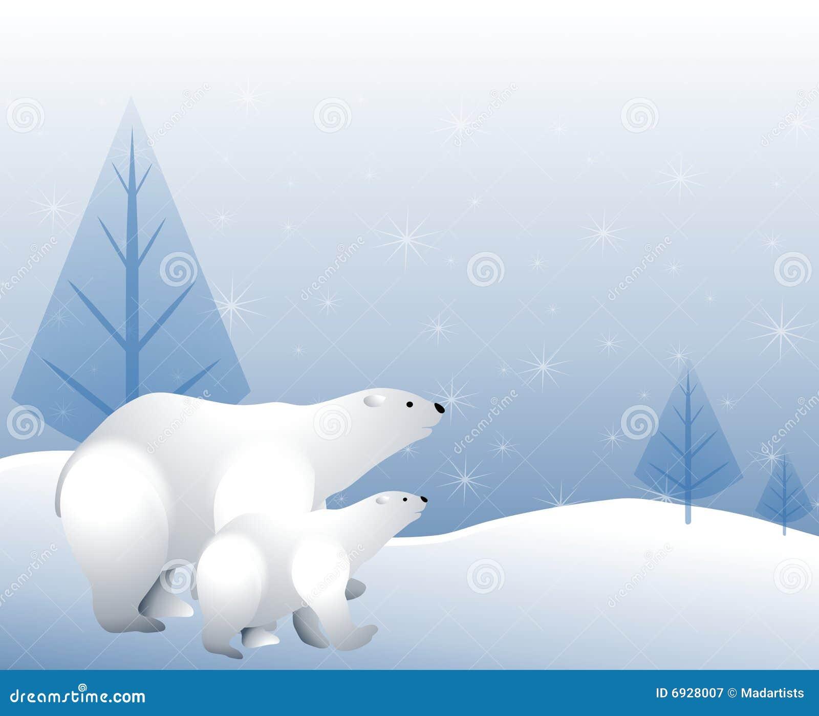 Orsi polari nella neve di inverno
