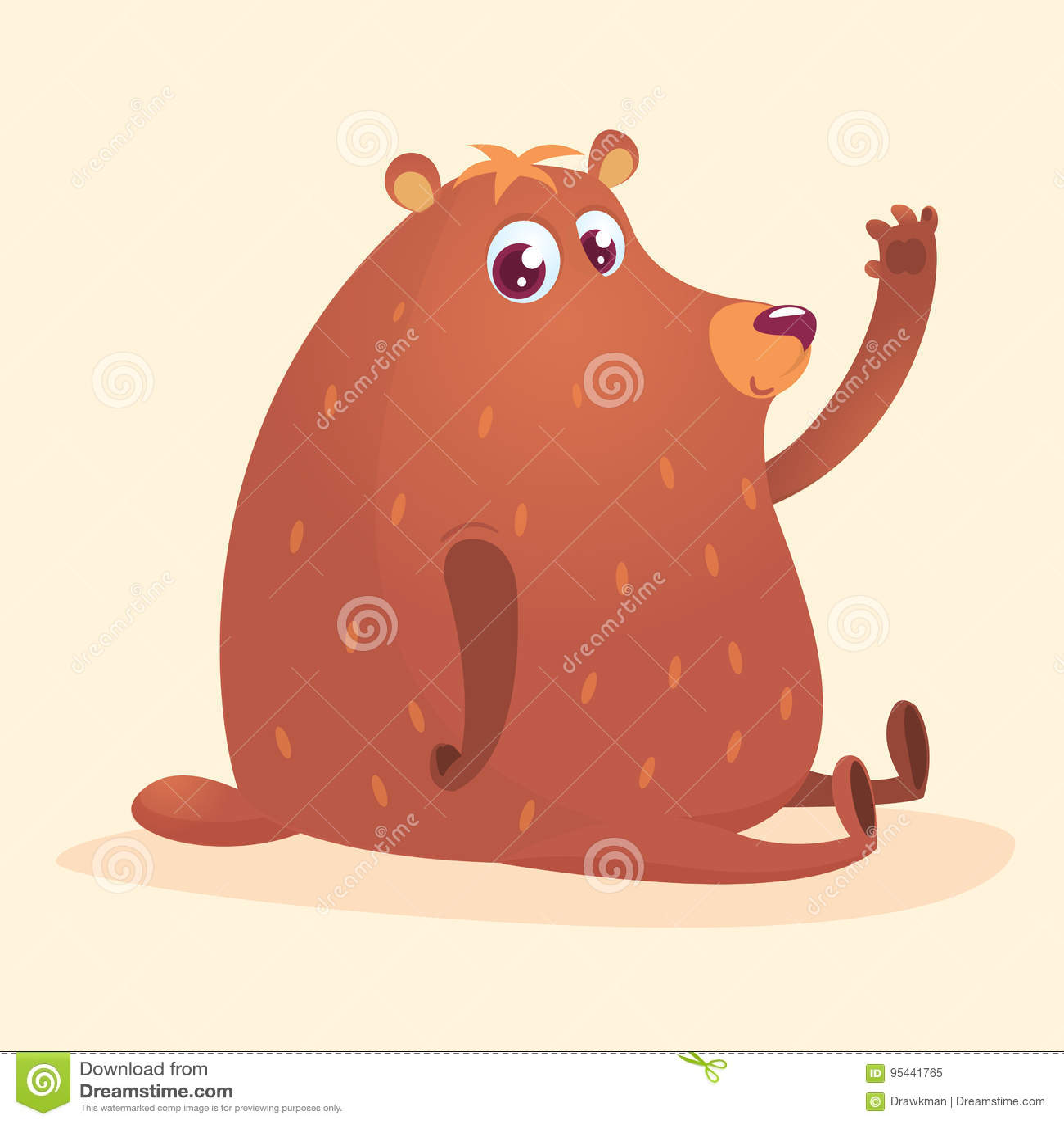 Orso bruno felice del fumetto Raccolta selvaggia dell animale della foresta Madre e bambino nell istruzione della sessione Isolat