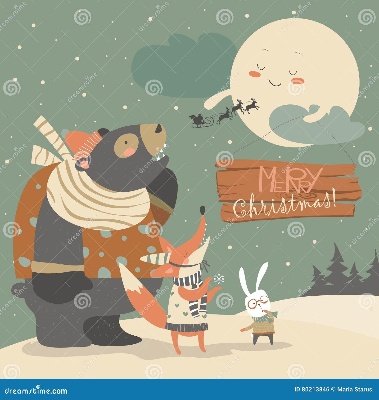 Orso coniglio e volpe guardanti la luna illustrazione vettoriale