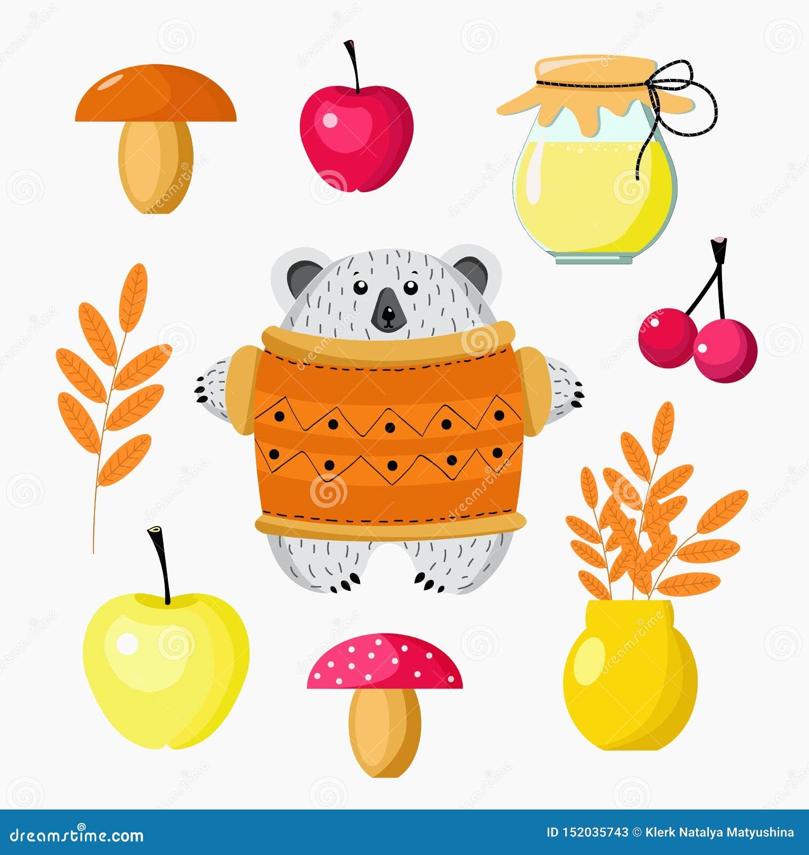 Orso del fumetto ed insieme del raccolto di autunno dei funghi, mele, bacche, miele, foglie per la progettazione della carta da p