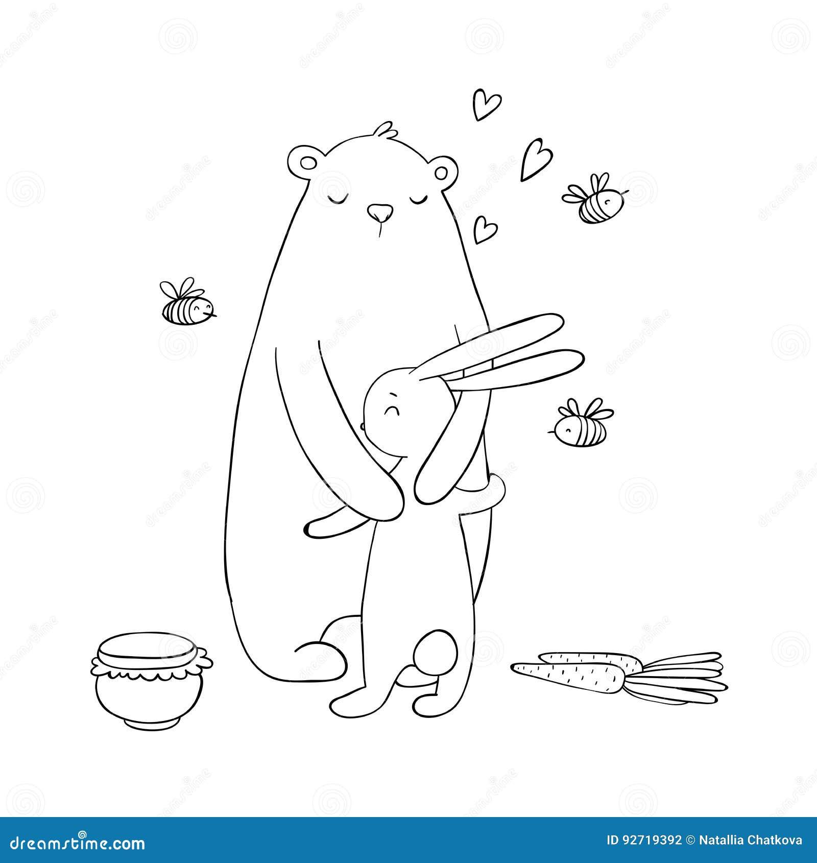 Orso e lepre adorabili del fumetto Un vaso di miele, delle carote e delle api Animali felici Oggetti isolati su priorità bassa bi