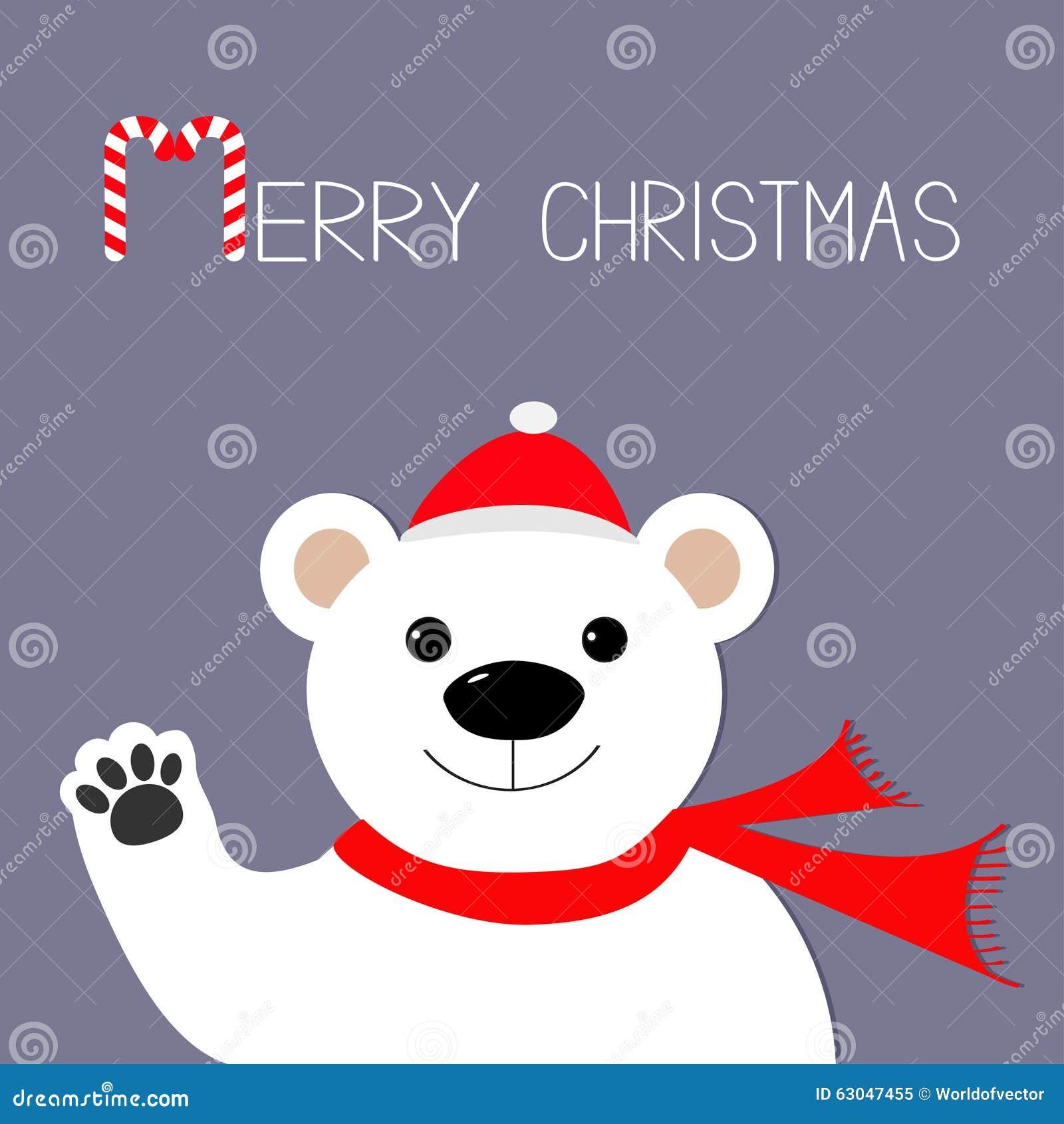 Babbo Natale Zampa.Orso Polare Bianco In Cappello Del Babbo Natale E Sciarpa Zampa