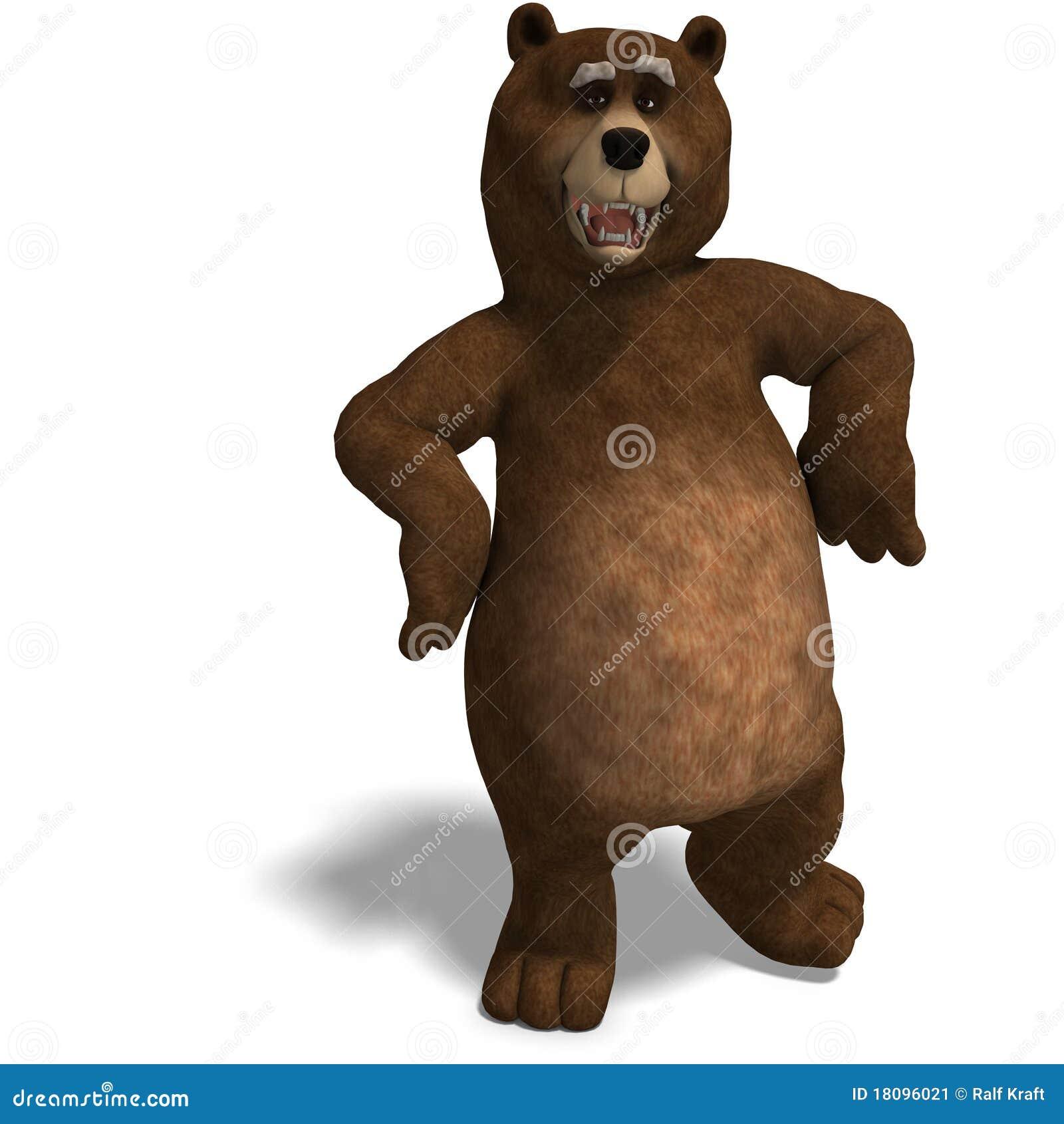 Orso sveglio e divertente di toon illustrazione di stock