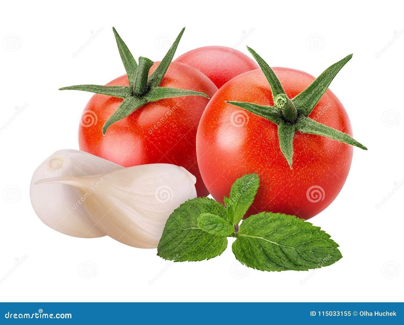 Ortaggi freschi pomodoro rosso, aglio, menta