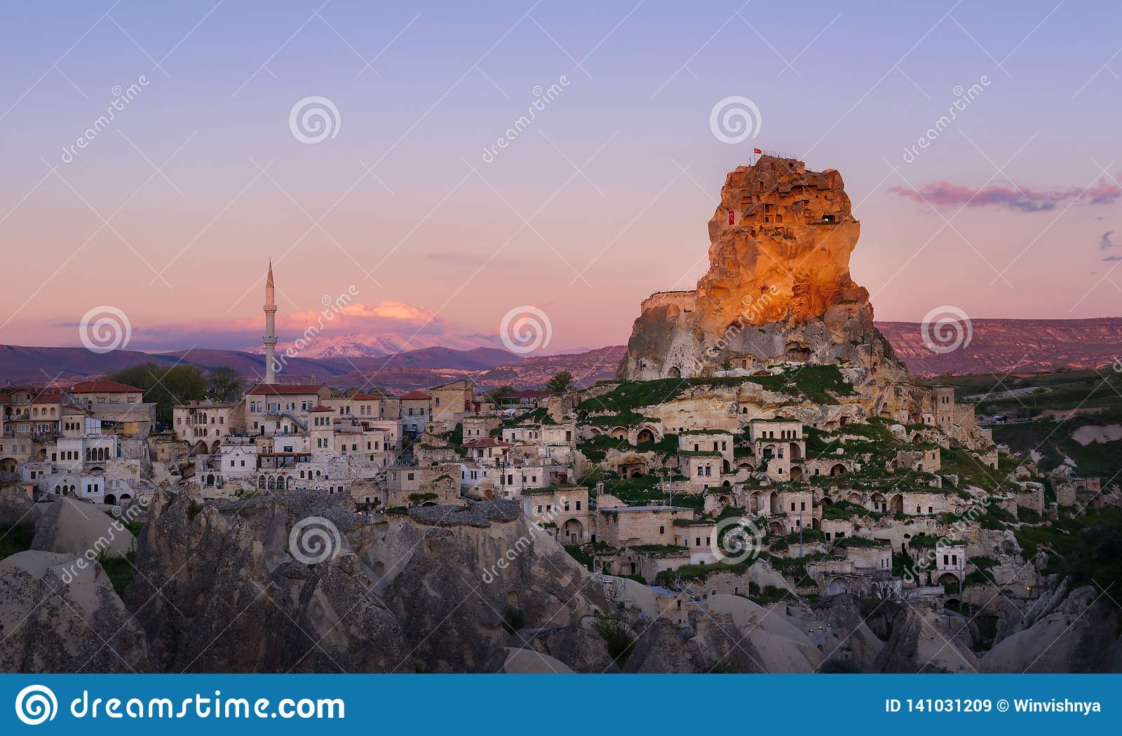 Ortahisar town at sunset. Cappadocia, Nevsehir Province. Turkey