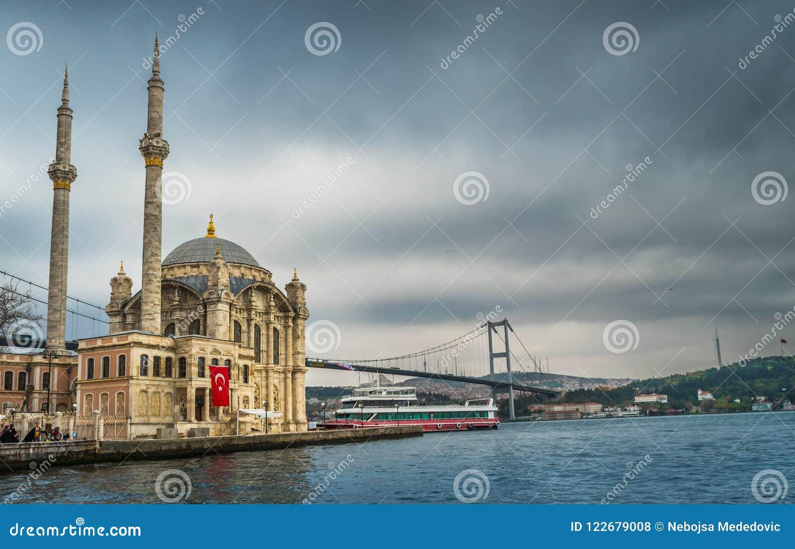 Ortakoy moské, Bosporus, Istanbul, Turkiet