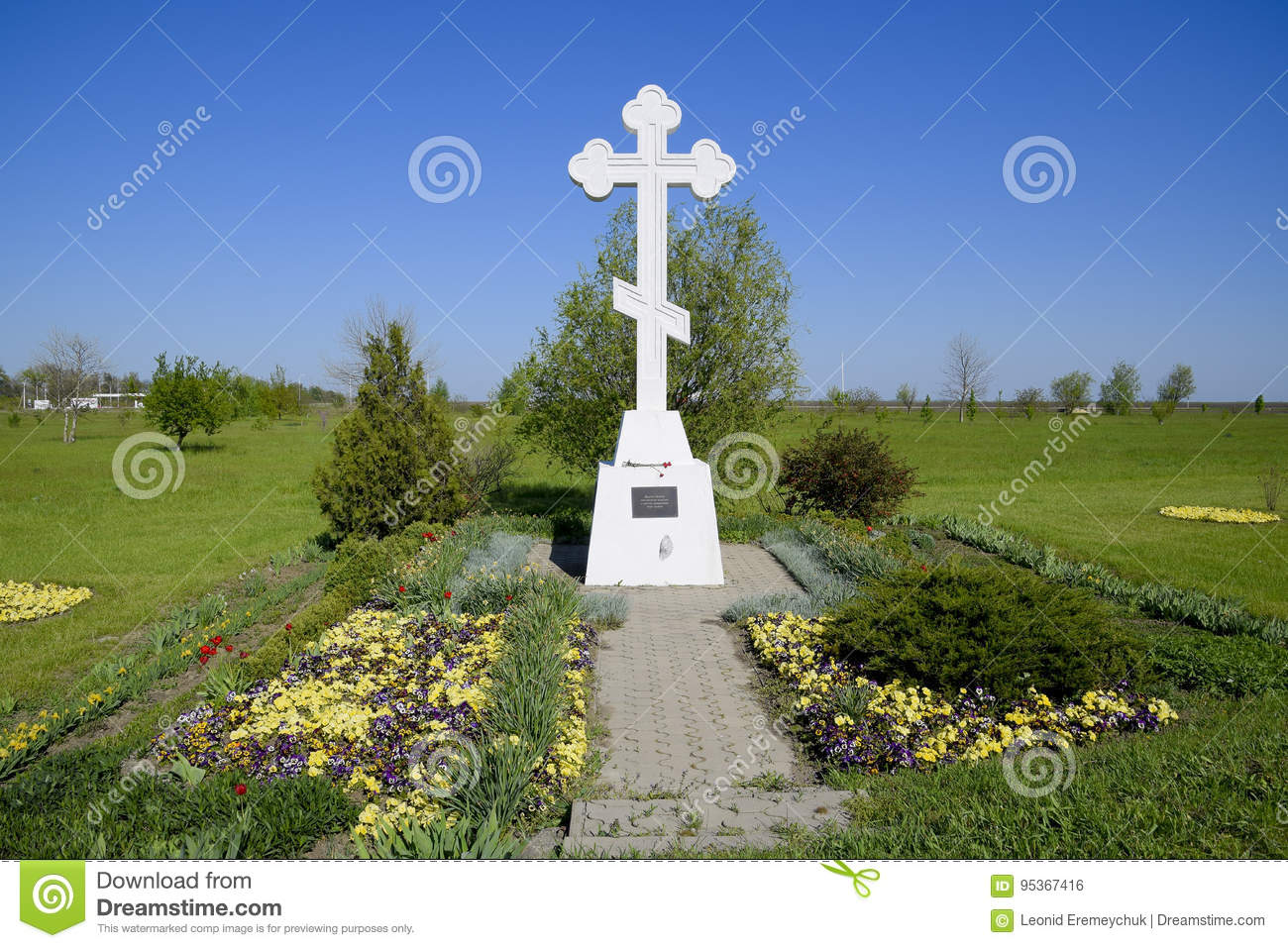 Orthodox cross on the entrance to the settlement. Symbol of the Christian faith. Orthodox cross for absorption entering into the c
