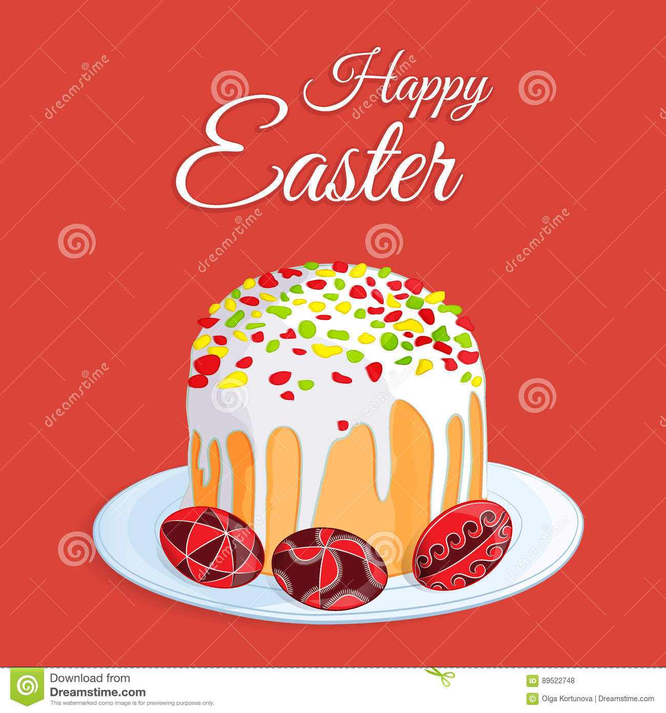 Orthodox easter festive greeting card vector cartoon illustration orthodox easter festive greeting card vector cartoon illustration of a traditional easter cake with candied m4hsunfo