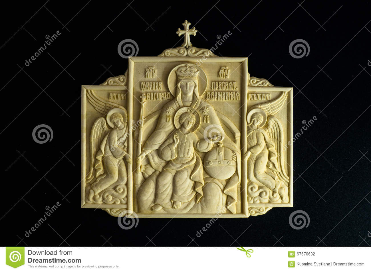 Orthodox Icon Carved From Mammoth Tusk  Stock Photo - Image