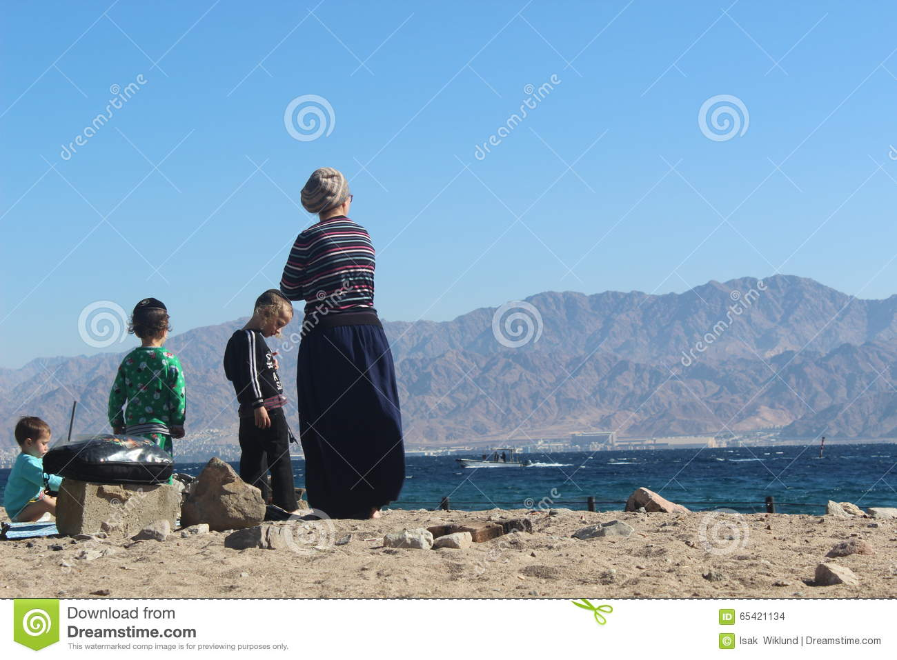 Orthodox Jewish Family On The Beach In Eilat, Israel Editorial Stock ...