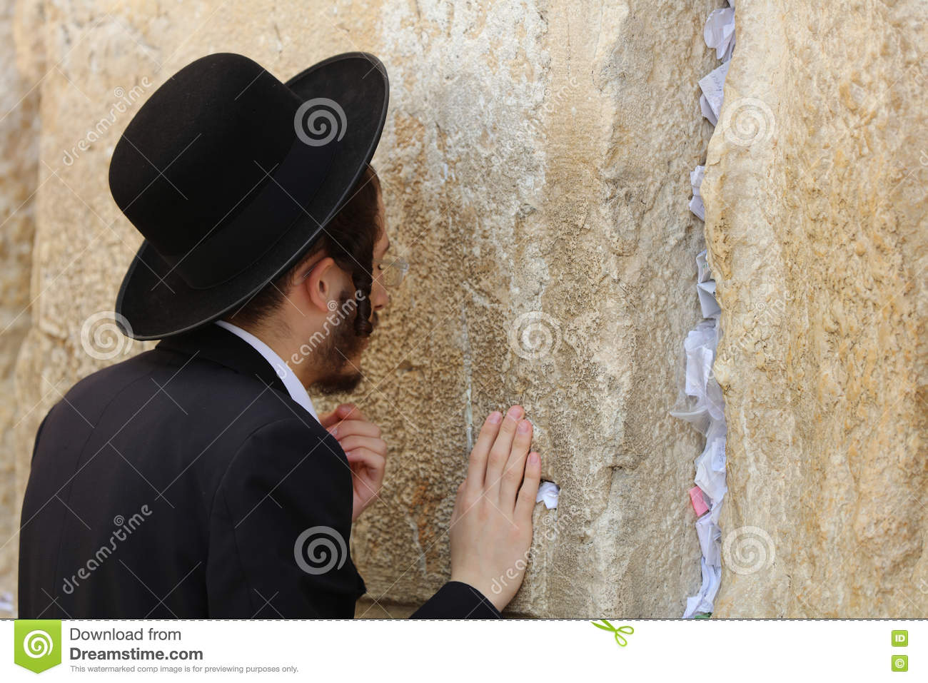 Orthodox Jewish Man at the Western Wall in Jerusalem