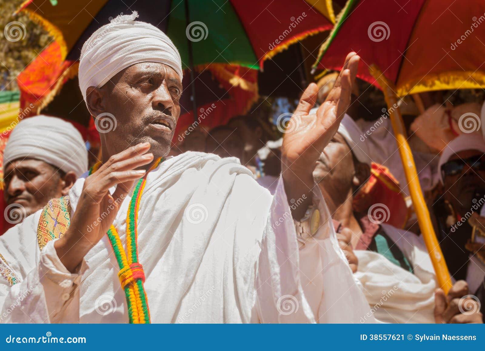 Orthodox priest during Timkat festival at Lalibela in Ethiopia
