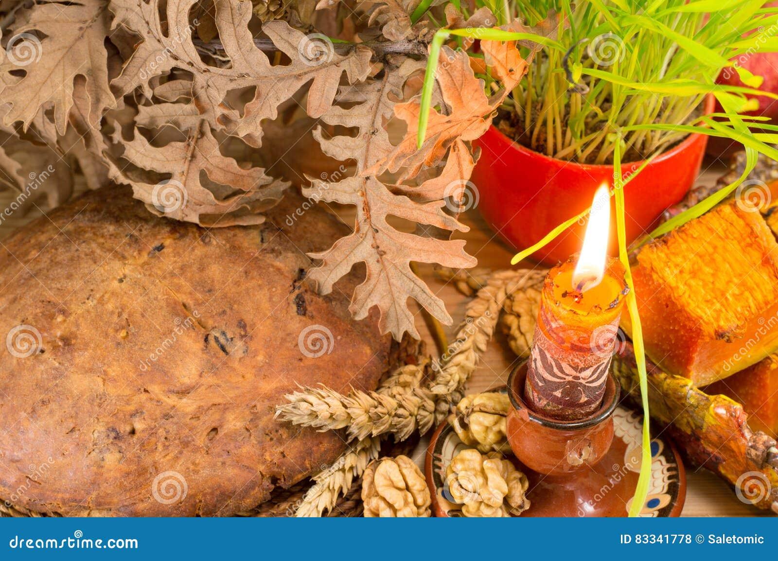 Orthodoxe Weihnachtsangebote Mit Wachsendem Weizen Stockfoto - Bild ...