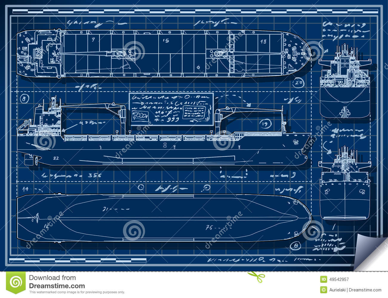 Orthogonal blauwdruk van een vrachtschip vector for Where to print blueprints