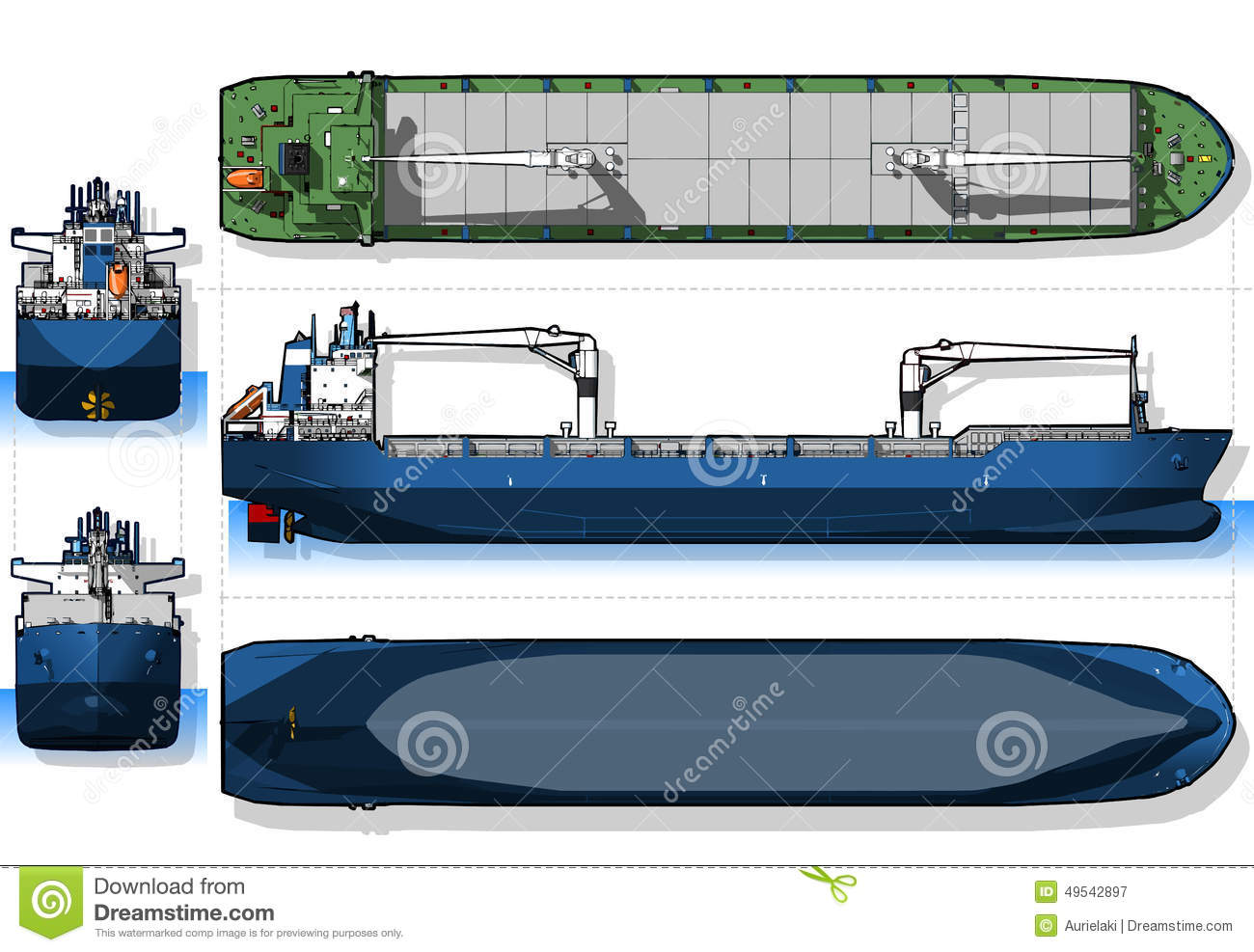 Orthogonal blue print of a cargo ship stock vector illustration orthogonal blue print of a cargo ship malvernweather Images