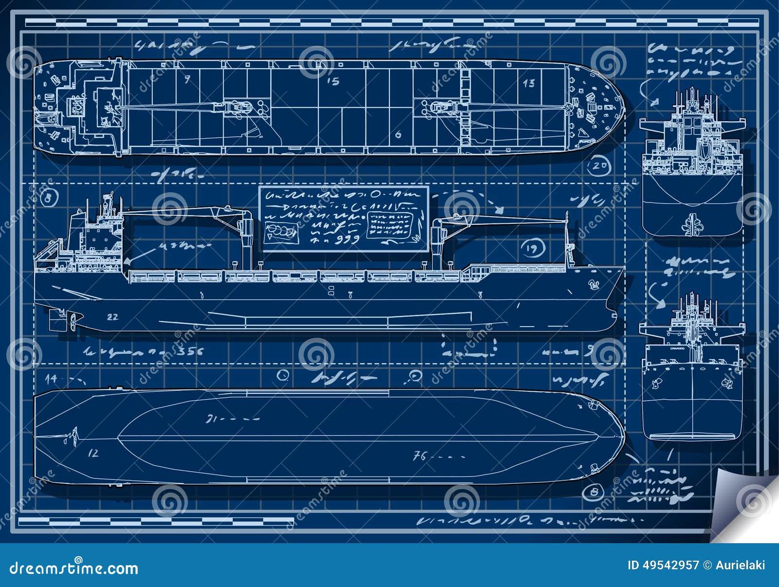 Orthogonale Blaupause Eines Frachtschiffs Vektor Abbildung ...