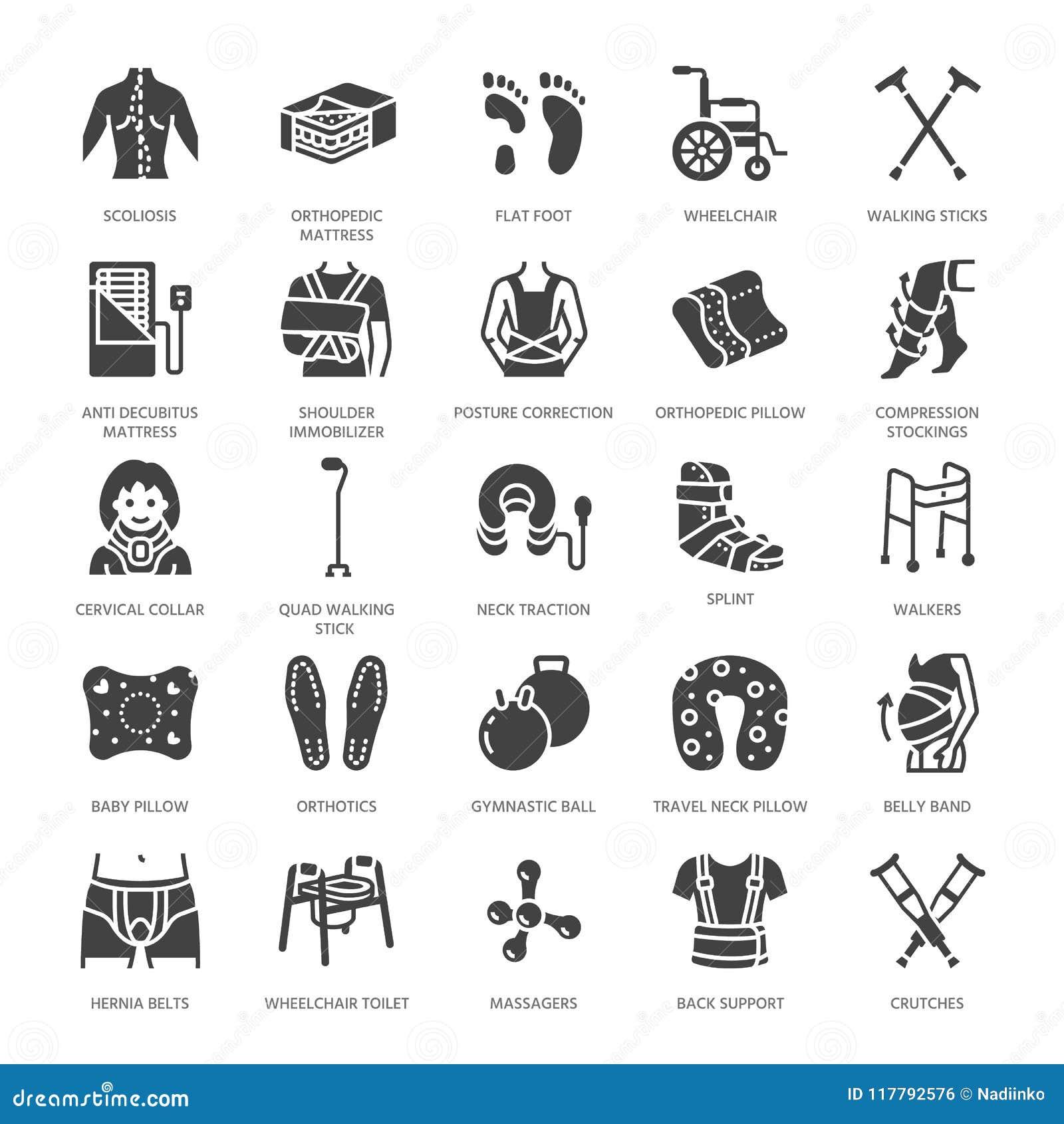 Orthopédie, icônes de glyph de réadaptation de traumatisme Béquilles, oreiller de matelas, collier cervical, marcheurs, marchandi