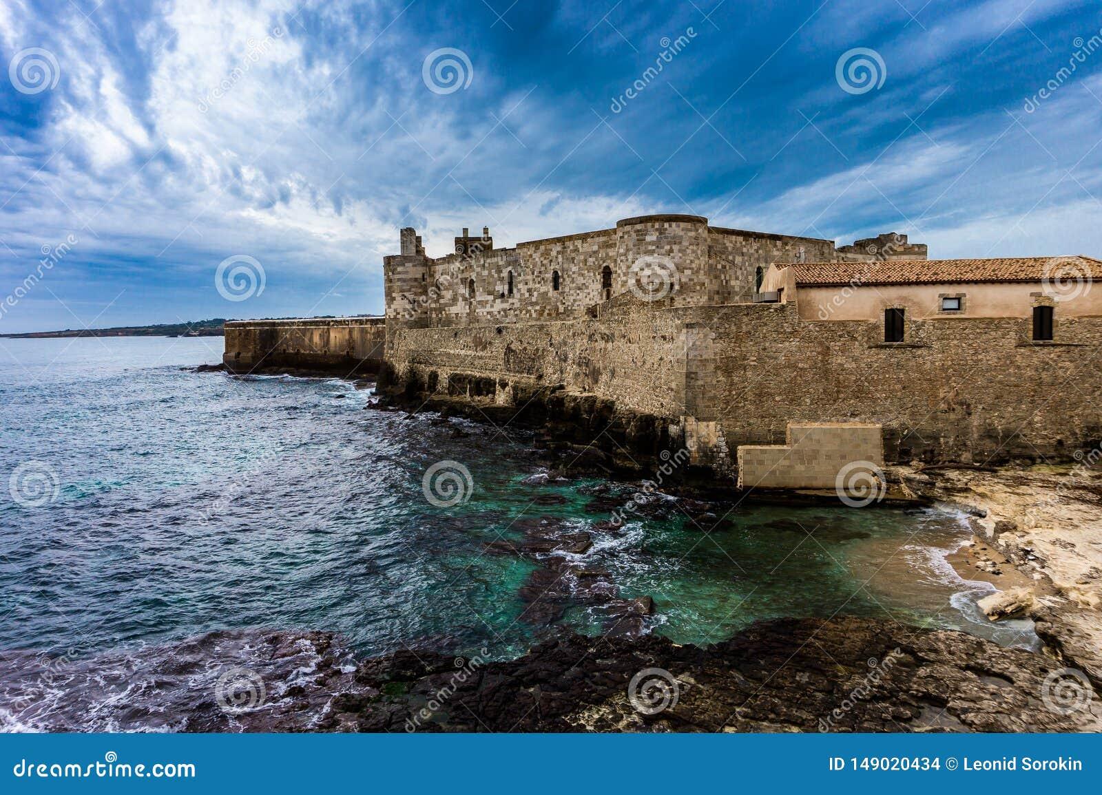 Ortigia海岛海岸线西勒鸠斯的