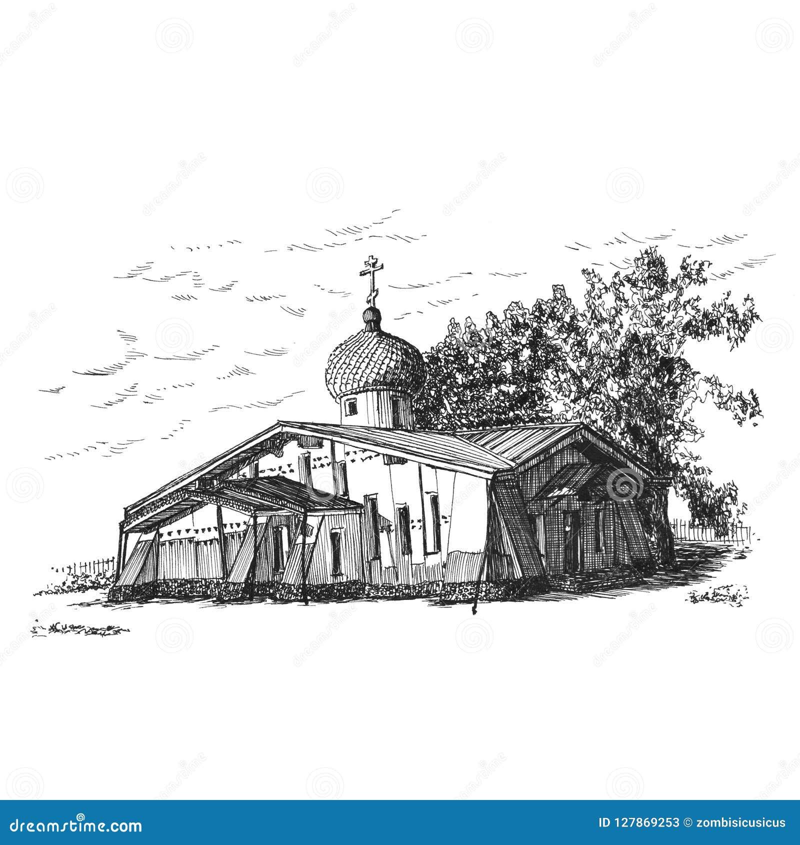 Ortodoksalny kościół w miasteczku