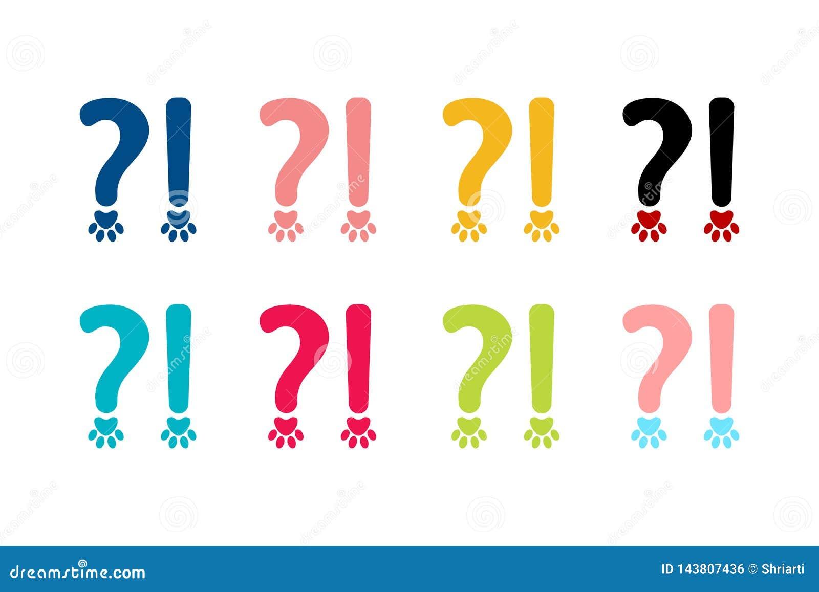 Ortografia znaki ustawiający znak zapytania i okrzyk oceny w zwierzęciu projektują