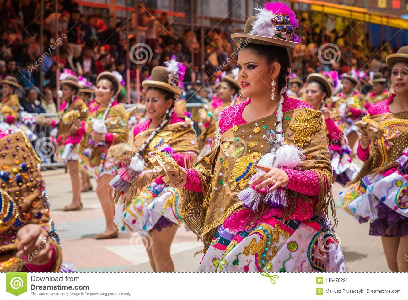 ORURO, BOLIVIA - FEBRUARY 10, 2018: Dancers At Oruro Carnival In