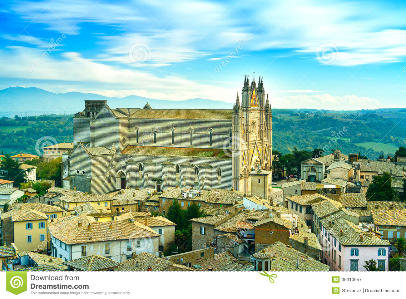 Orvieto Medieval Duomo Cathedral Church And Old Village ...