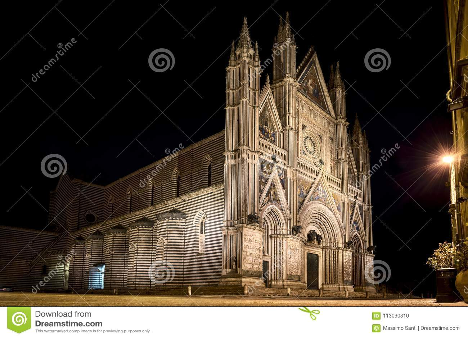Panoramic view of Cathedral of Orvieto Duomo di Orvieto, by night. Umbria, Italy