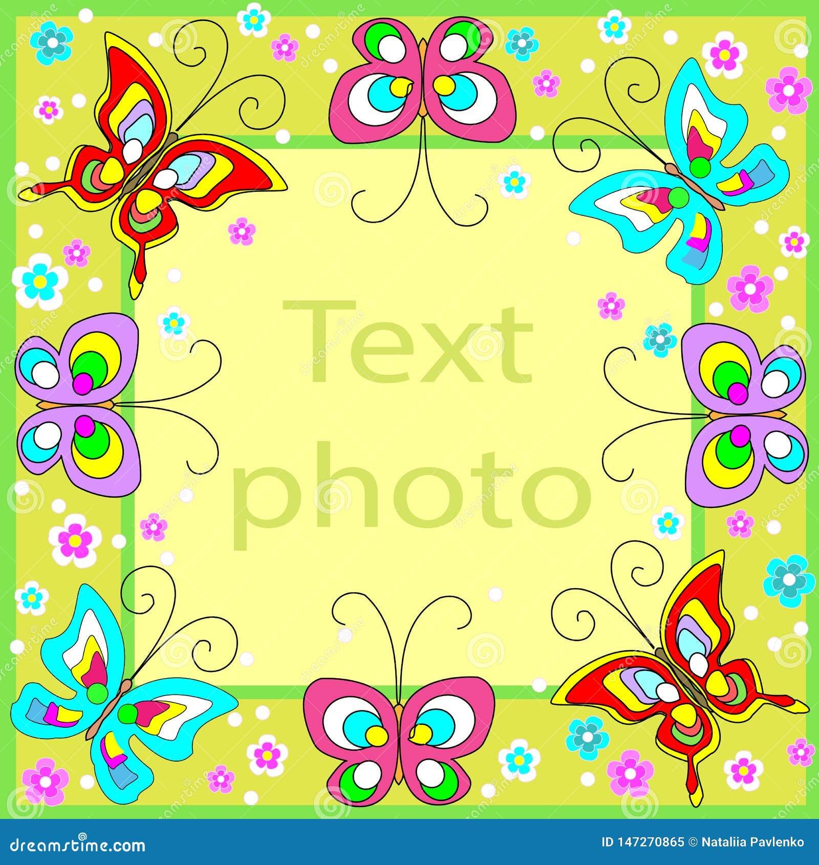 Orygina? rama dla fotografii i teksta Wesoło motyle trzepoczą nad zielonym tłem i tworzą świątecznego nastrój idealny prezent