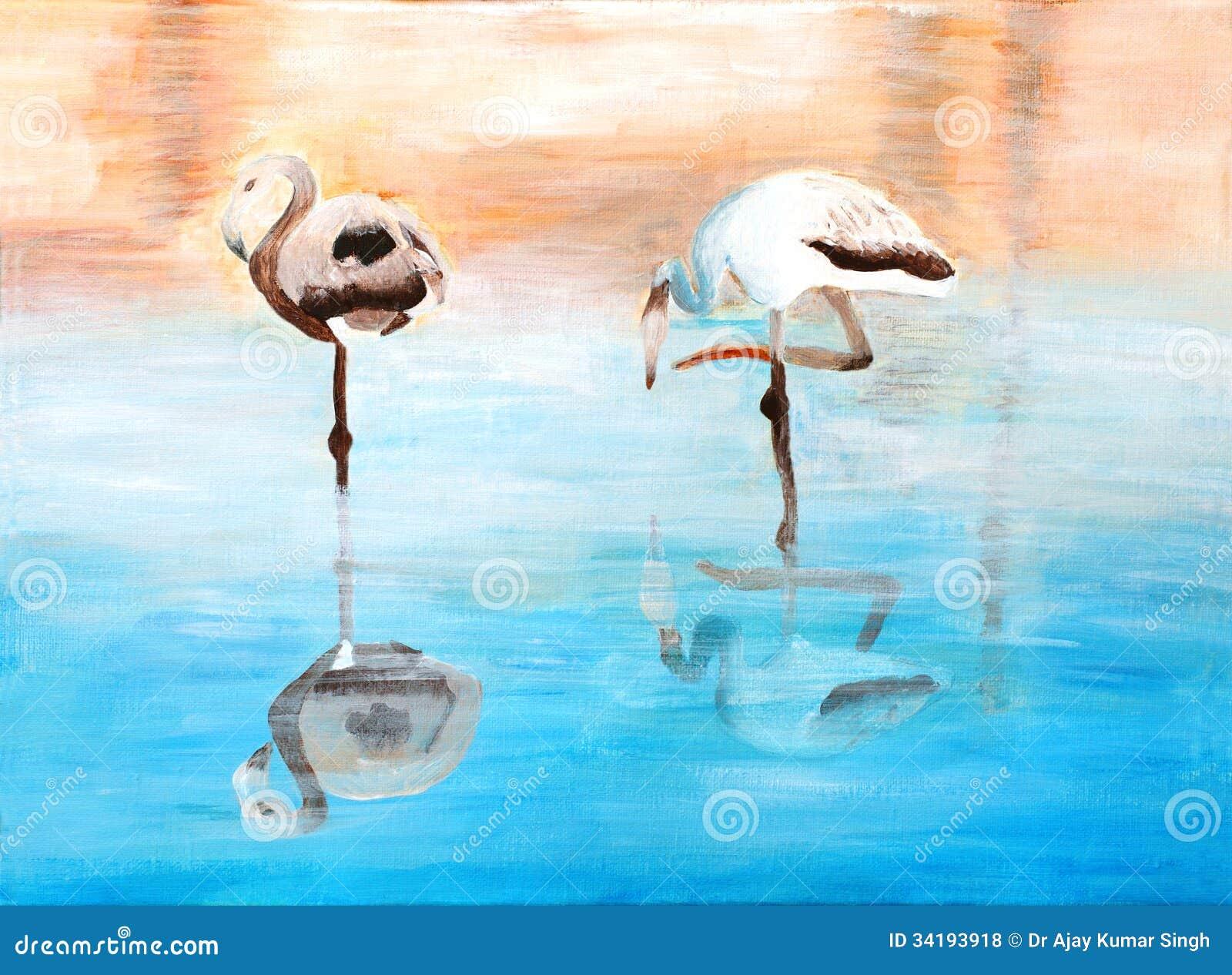 Oryginalny Obraz Piękni Flamingi Dramati Ilustracji Ilustracja