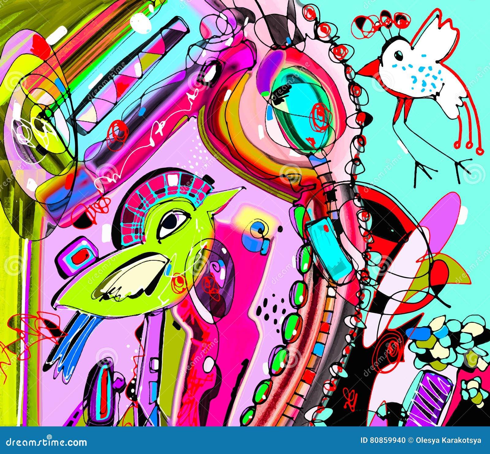 Oryginalny unikalny abstrakcjonistyczny cyfrowy współczesny grafika plakata dowcip