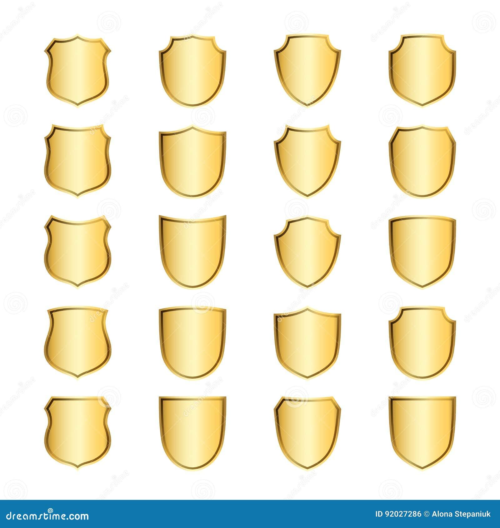 Osłona kształta złociste ikony ustawiający emblemat