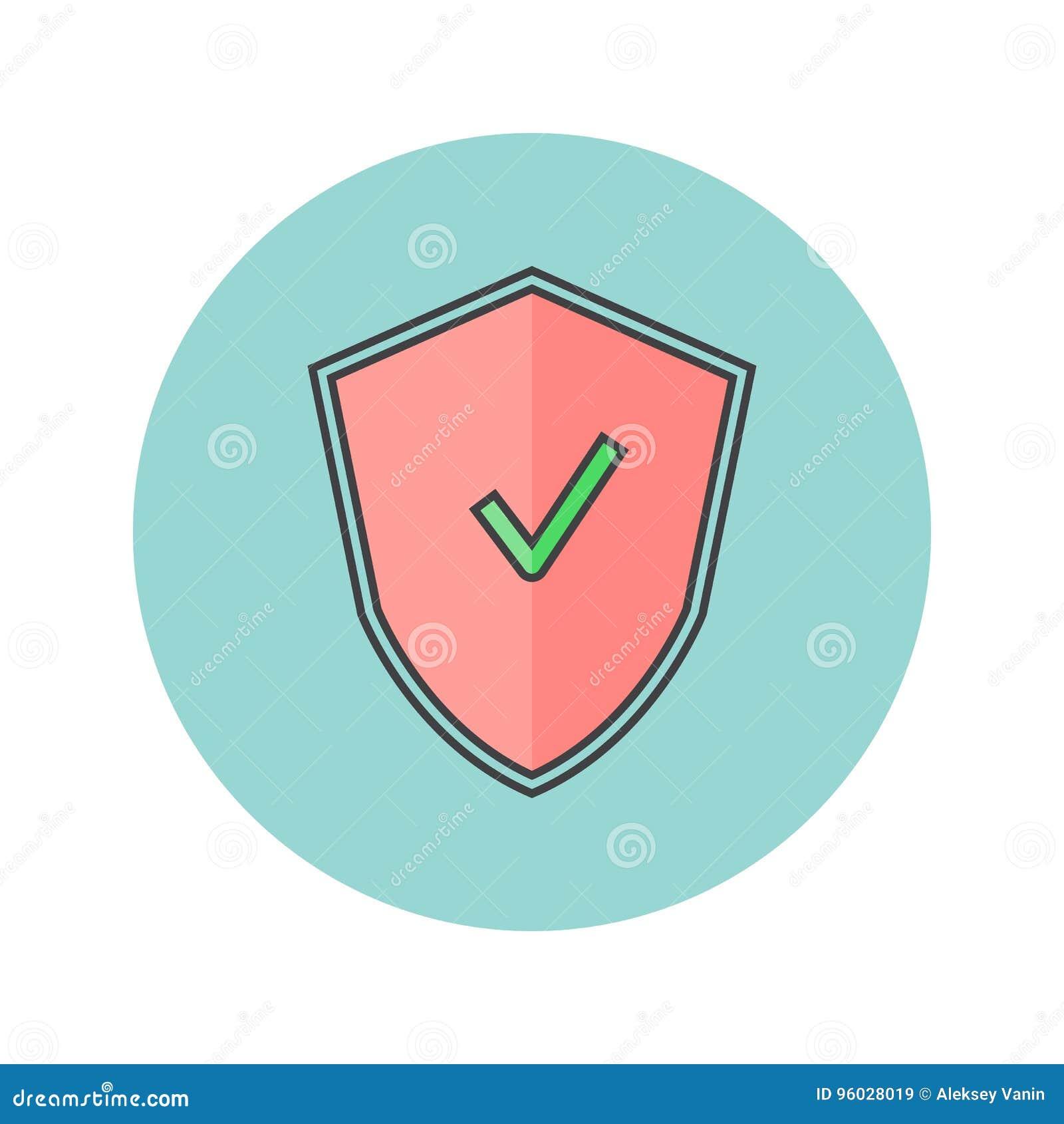 Osłony cienka kreskowa ikona, ochrona wypełniał konturu loga wektorową bolączkę