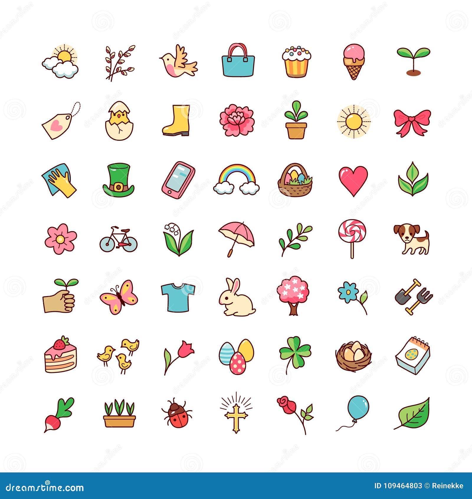 Os ícones ajustaram a primavera